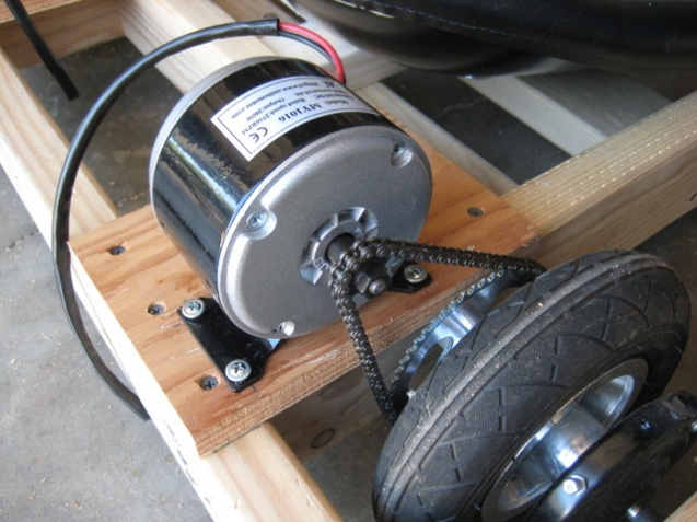 motor is mounted by some beefy wood screws