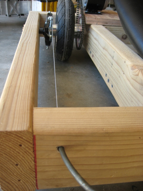 the wooden kart frame also serves as the cable stop