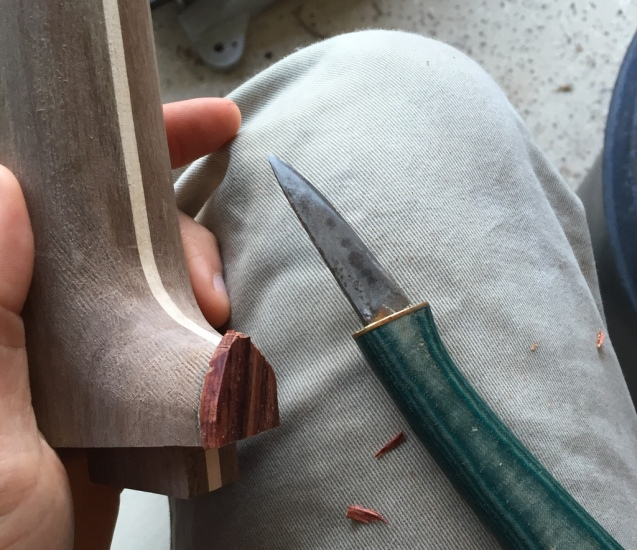 more carving to shape the heel cap