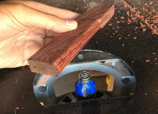 rounding a piece of cocobolo as a string mandrel