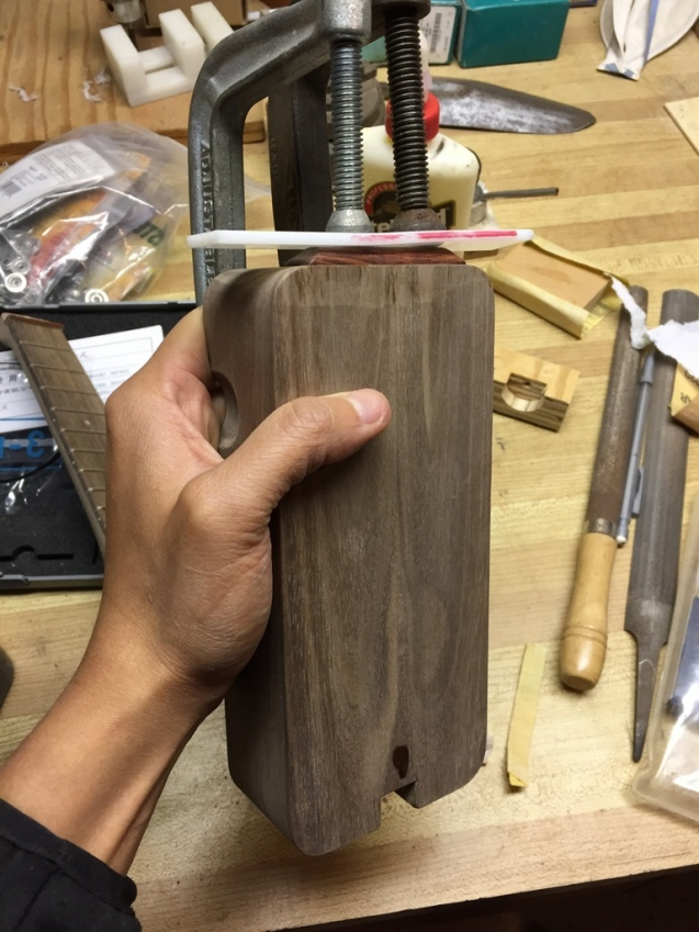 gluing the cocobolo mandrel in place