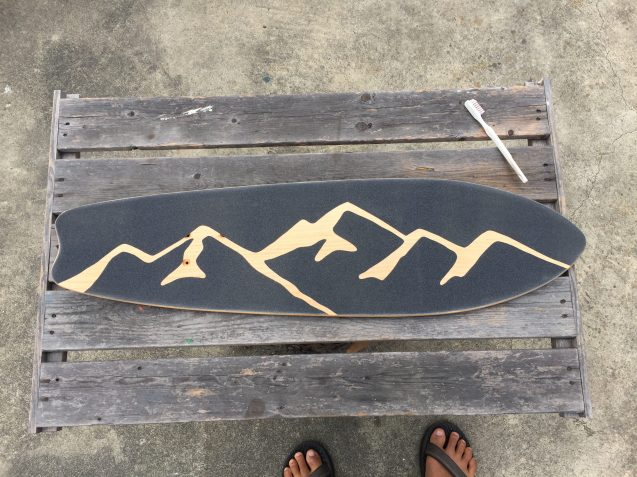 grip tape all trimmed, deck is ready for trucks